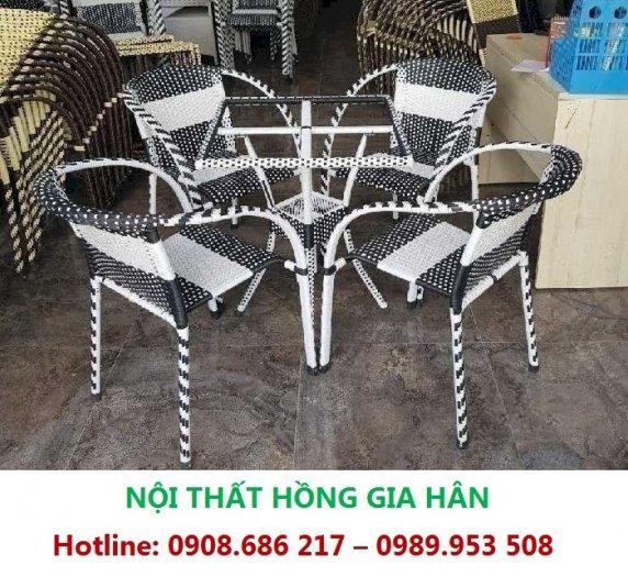 Bộ Bàn Ghế Cafe Sân Vườn Nhựa Giả Mây HGH MN020