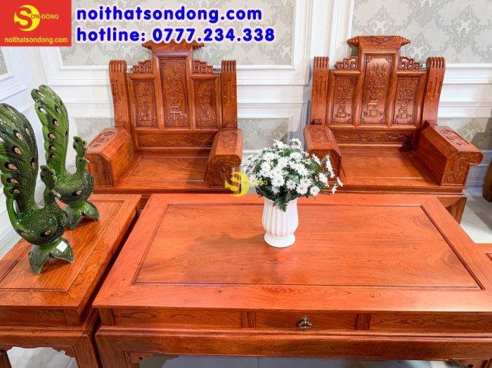 Bộ bàn ghế tần thủy hoàng tứ quý tay hộp cá chép 6 món3