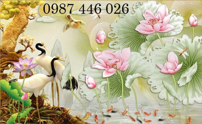 Tranh gạch men chim hạc, tranh ốp tường trang trí đẹp HP34897