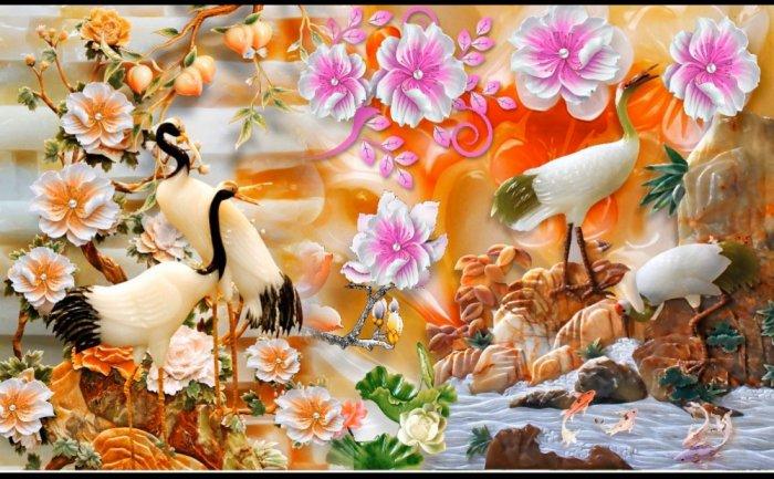 Tranh gạch men chim hạc, tranh ốp tường trang trí đẹp HP34895