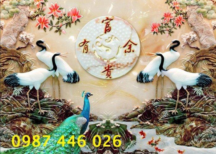 Tranh gạch men chim hạc, tranh ốp tường trang trí đẹp HP34894