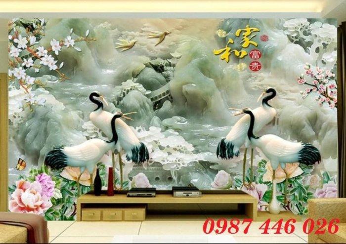 Tranh gạch men chim hạc, tranh ốp tường trang trí đẹp HP34893