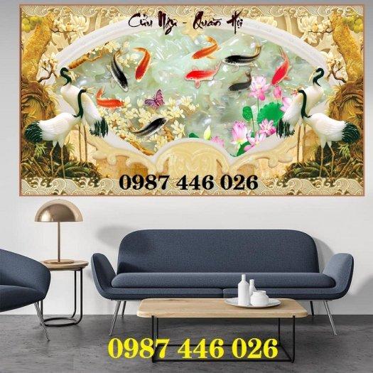 Tranh gạch men chim hạc, tranh ốp tường trang trí đẹp HP34892