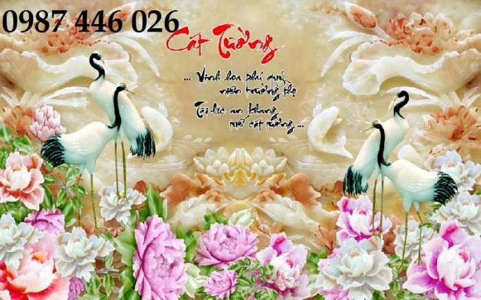 Tranh gạch men chim hạc, tranh ốp tường trang trí đẹp HP34891