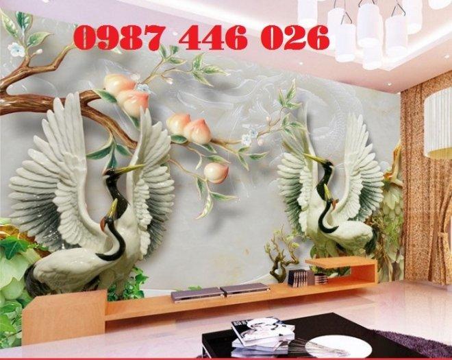Tranh gạch men chim hạc, tranh ốp tường trang trí đẹp HP34890