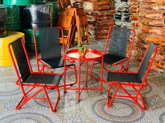 Bộ ghế sắt lưới xếp nhiều màu giá hạt giẻ0