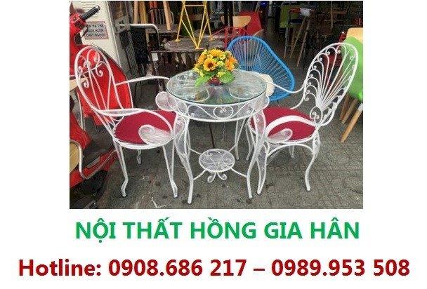 Bộ Bàn Ghế Cafe Hoa Văn Hgh89 Cho Sân Vườn Biệt Thự0