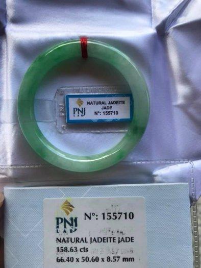 Chiếc Vòng cẩm thạch tự nhiên Ni49 đã kiểm định kèm giấy chứng nhận P No 155710 bóng đẹp Nữ 48kg -52kg có 3680k ạ6