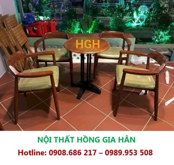Bàn Ghế Gỗ Cafe Lưng Cong Tay Vịn Sang Trọng Hgh8300