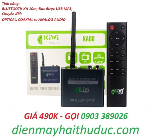 Bộ chuyển Optical Kiwi KA08 hỗ trợ Bluetooth xa đến 10m, USB phát nhạc MP33
