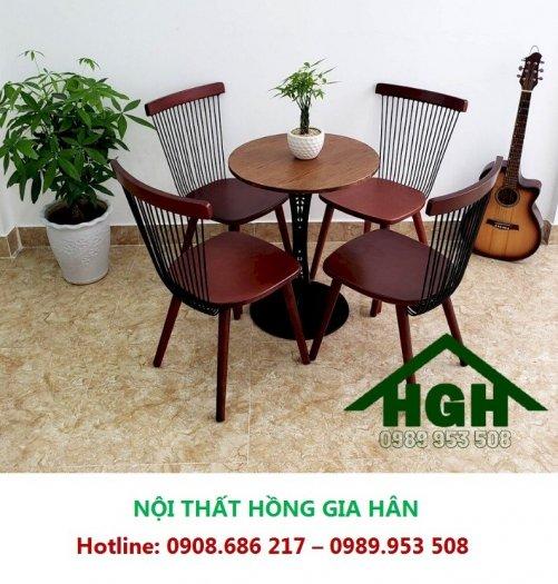 Bộ Bàn Ghế Gỗ Cafe Lưng Tựa Hgh0710