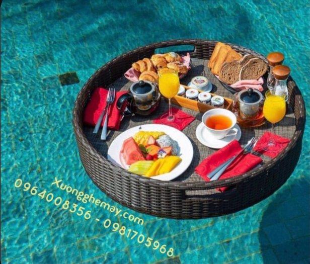 Khay nổi bể bơi, Khay đựng đồ ăn sáng nhựa giả mây18