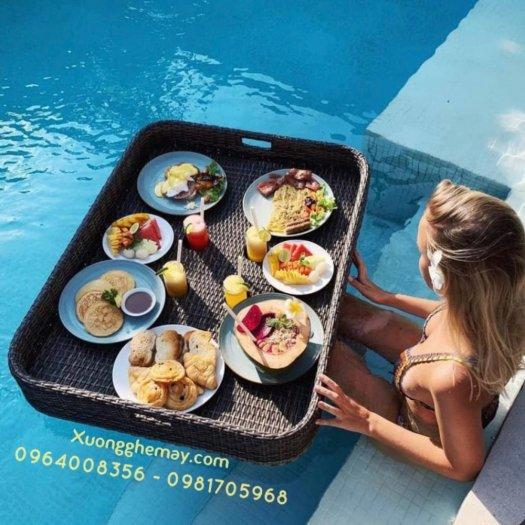Khay nổi bể bơi, Khay đựng đồ ăn sáng nhựa giả mây16