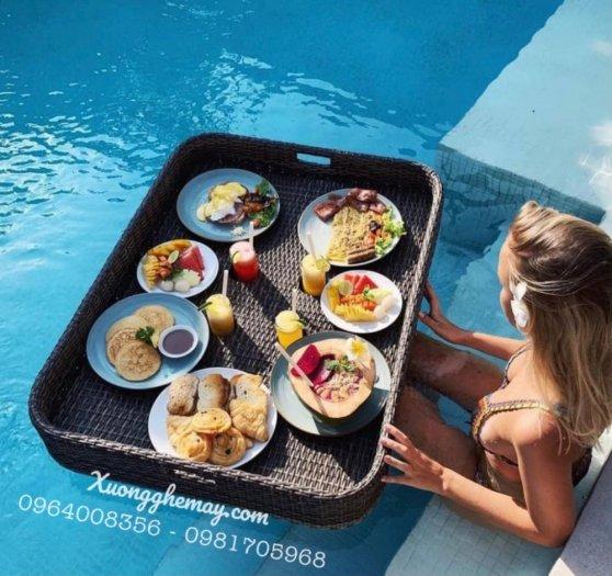 Khay nổi bể bơi, Khay đựng đồ ăn sáng nhựa giả mây14