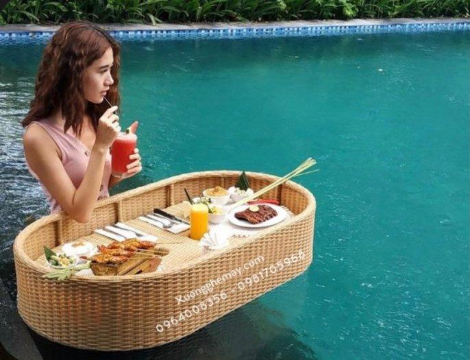 Khay nổi bể bơi, Khay đựng đồ ăn sáng nhựa giả mây13
