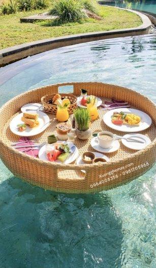 Khay nổi bể bơi, Khay đựng đồ ăn sáng nhựa giả mây11
