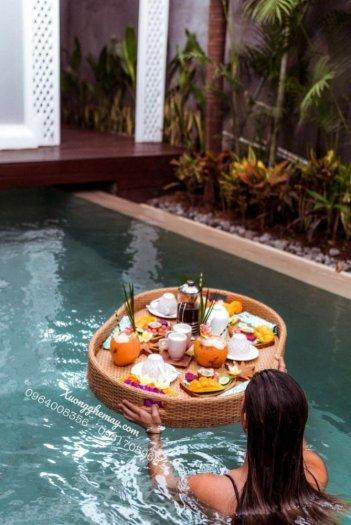 Khay nổi bể bơi, Khay đựng đồ ăn sáng nhựa giả mây10