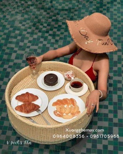 Khay nổi bể bơi, Khay đựng đồ ăn sáng nhựa giả mây9