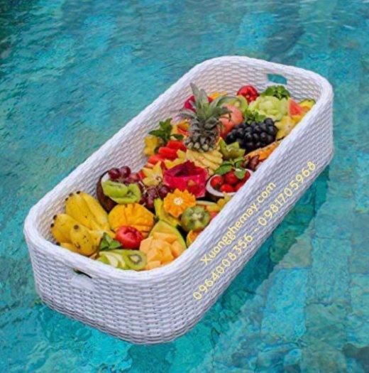 Khay nổi bể bơi, Khay đựng đồ ăn sáng nhựa giả mây8