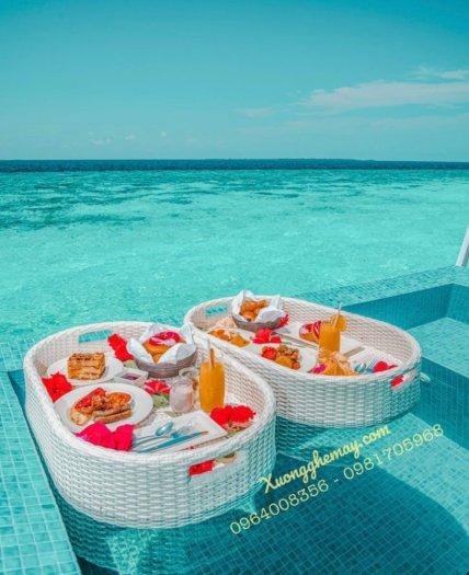 Khay nổi bể bơi, Khay đựng đồ ăn sáng nhựa giả mây6