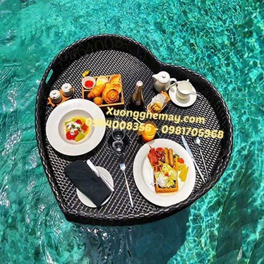 Khay nổi bể bơi, Khay đựng đồ ăn sáng nhựa giả mây4