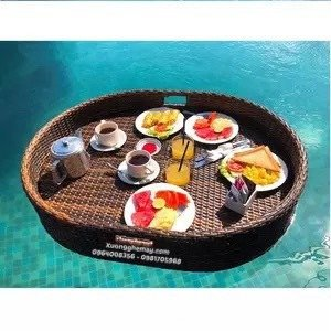 Khay nổi bể bơi, Khay đựng đồ ăn sáng nhựa giả mây2