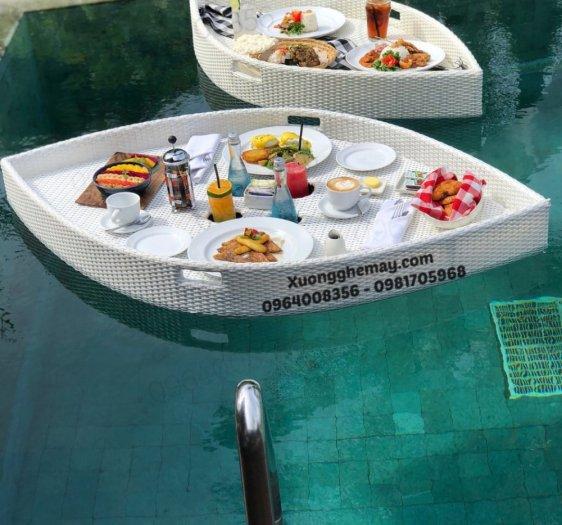 Khay nổi bể bơi, Khay đựng đồ ăn sáng nhựa giả mây0