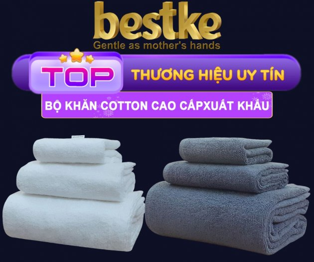 Combo 5 khăn gồm 3 Khăn gội và 2 khăn mặt bestke 100% cotton1