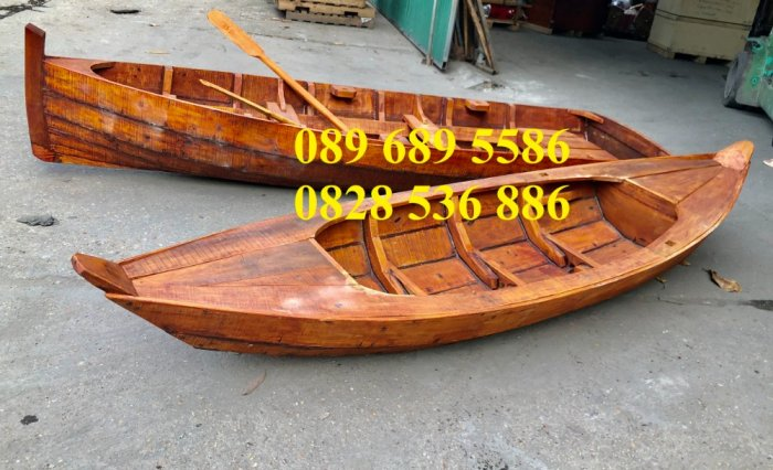Thuyền gỗ chèo tay 3m, Thuyền gỗ 4m, Thuyền gỗ trang trí, Thuyền gỗ chụp ảnh3