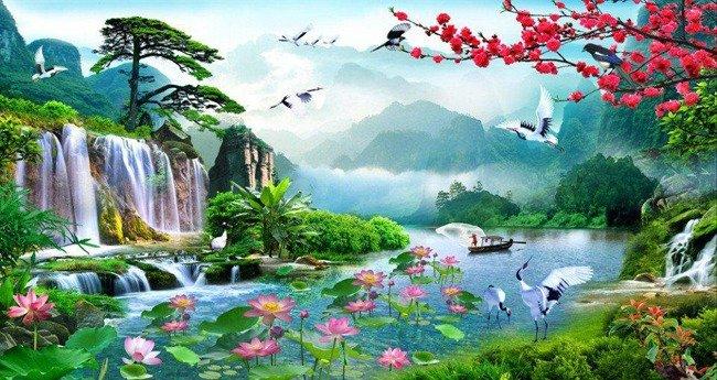 Tranh 3d - tranh gạch 3d phong cảnh sông núi - MCV46