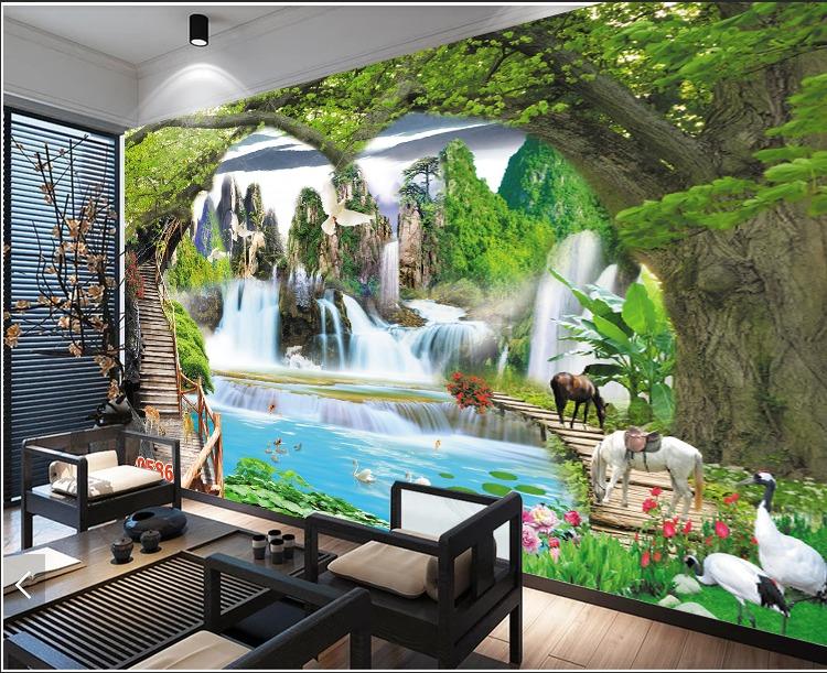 Tranh 3d - tranh gạch 3d phong cảnh sông núi - MCV40