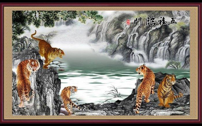 Tranh hổ -tranh gạch 3d hổ phong thủy - 85SNN9