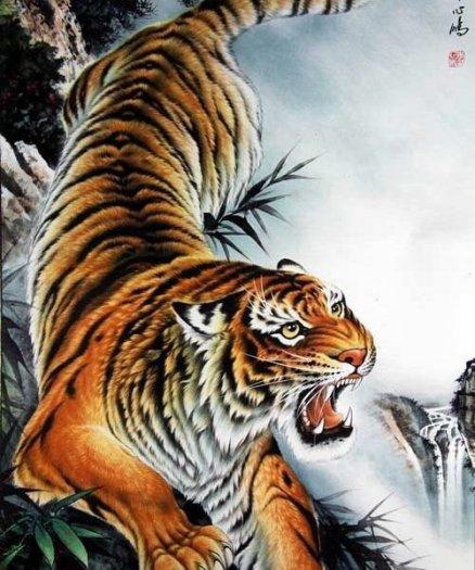 Tranh hổ -tranh gạch 3d hổ phong thủy - 85SNN3