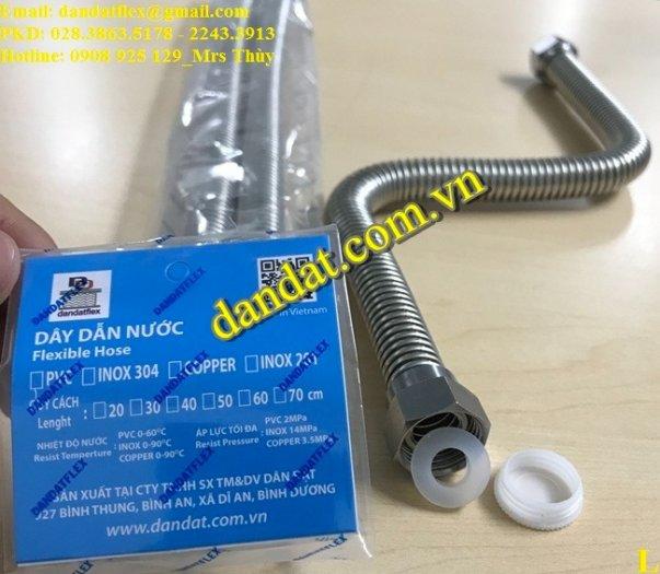 Dây cấp nước nóng lạnh 2m, dây dẫn nước inox 304, ống cấp nước mềm cho bình nóng lạnh inox3