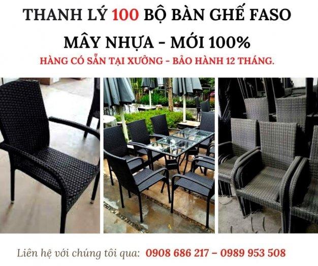 Thanh Lý 100 Bộ Bàn Ghế Faso Mây Nhựa HGH0