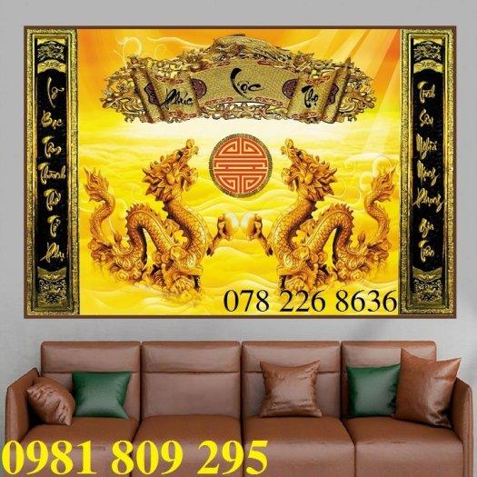 Gạch tranh 3d rồng vàng ốp bàn thờ2