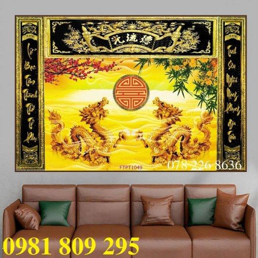 Gạch tranh 3d rồng vàng ốp bàn thờ1