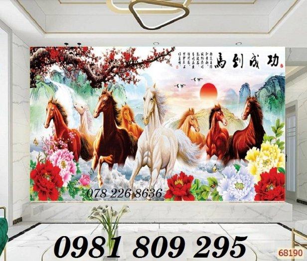 Gạch tranh 3d ngựa ốp phòng khách0