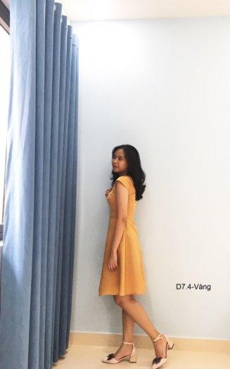 Đầm tiểu thư dáng xòe thời trang sang trọng D7.4-Vàng1