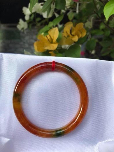 Vòng tay đá cẩm thạch Tứ Quý 51mm bóng đẹp quá Size vòng 51mm x dầy 7mm Màu đỏ cam6