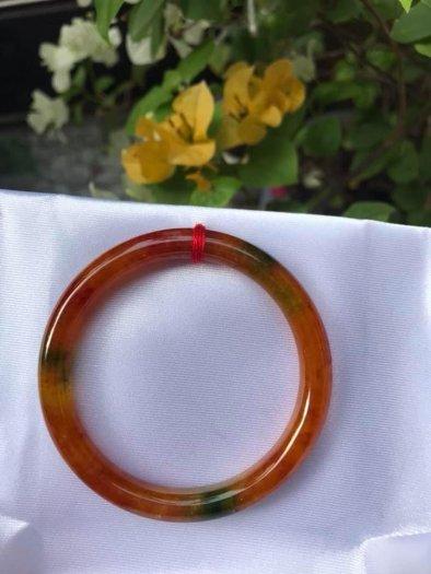 Vòng tay đá cẩm thạch Tứ Quý 51mm bóng đẹp quá Size vòng 51mm x dầy 7mm Màu đỏ cam0