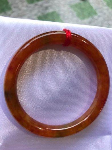 Vòng cẩm thạch Tứ Quý đẹp 50mm x dầy 7,2mm Màu Vàng Cam Bông Đỏ7