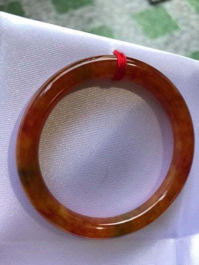 Vòng cẩm thạch Tứ Quý đẹp 50mm x dầy 7,2mm Màu Vàng Cam Bông Đỏ5