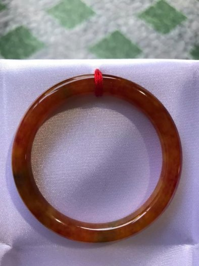 Vòng cẩm thạch Tứ Quý đẹp 50mm x dầy 7,2mm Màu Vàng Cam Bông Đỏ1
