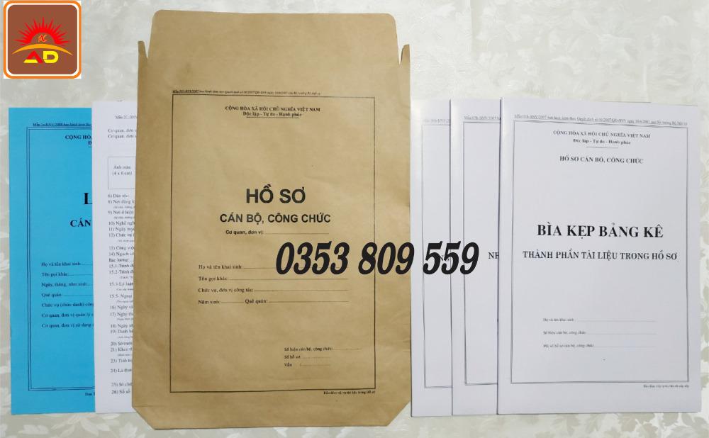 Nơi bán hồ sơ công chức mẫu B01, B050