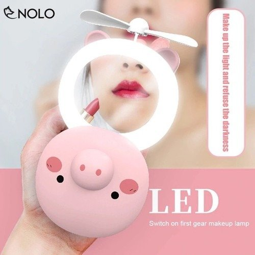 Quạt heo sạc điện mini có đèn và gương soi 3 trong 1 - quạt cầm tay bỏ túi tiện dụng7