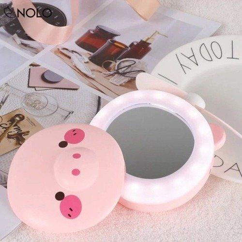 Quạt heo sạc điện mini có đèn và gương soi 3 trong 1 - quạt cầm tay bỏ túi tiện dụng6