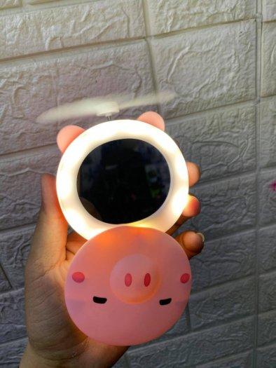 Quạt heo sạc điện mini có đèn và gương soi 3 trong 1 - quạt cầm tay bỏ túi tiện dụng1