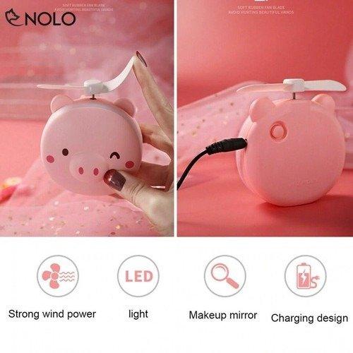 Quạt heo sạc điện mini có đèn và gương soi 3 trong 1 - quạt cầm tay bỏ túi tiện dụng8