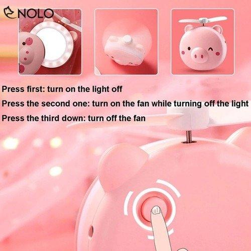 Quạt heo sạc điện mini có đèn và gương soi 3 trong 1 - quạt cầm tay bỏ túi tiện dụng4